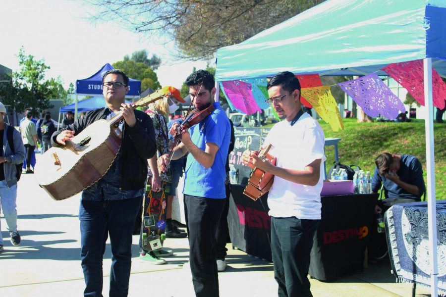 Tristin Baeza, Emanuel Osorio and James Torres serenaded students with Mexican Mariachi songs. Mariachi Los Cerritos club came out for the Spring 2020 Welcome Event to encourage students to join. Photo credit: Rocio Valdez