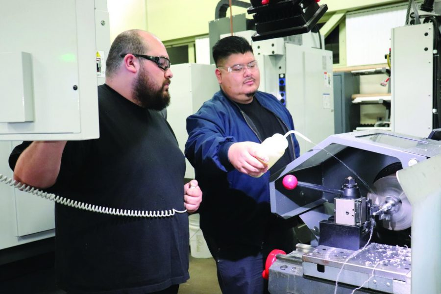 he Gene Haas foundation has provided scholarships and machines for the students of the Machine Tool Technology department, including a recent $20K grant. The machine is used to create keychains on March 2, 2020. Photo credit: Kianna Znika