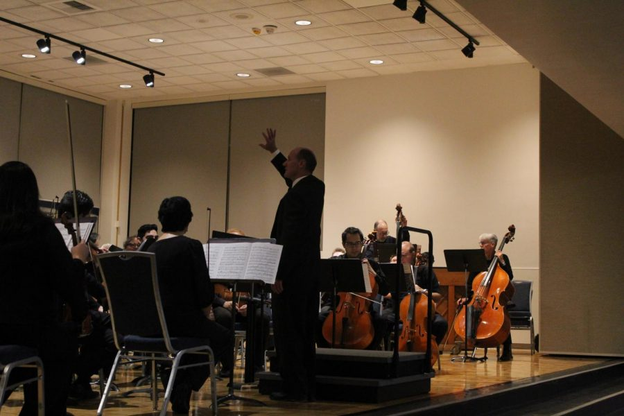 "Cerritos College Orchestra and Director Mr. Alan Hallback. They performed ""Idomeneo, Overture"" by W.A. Mozart/arr. Aubrey Winter, ""Symphony No. 7, IV. Allegro con Brio and ""Everything's Coming Up Roses"" by Jule Styne/Stephen Sondheim/arr. Bob Cerulli, March 2, 2020 Photo credit: Rocio Valdez"