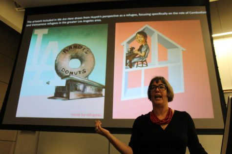"Curator, Rebecca Hall, discussed details about the upcoming exhibition ""We Are Here: Contemporary Art and Asian Voices in Los Angeles."" The presentation took place during the Visual and Cultural Studies Lecture at Cerritos College on Feb. 20. Photo credit: Kianna Znika"