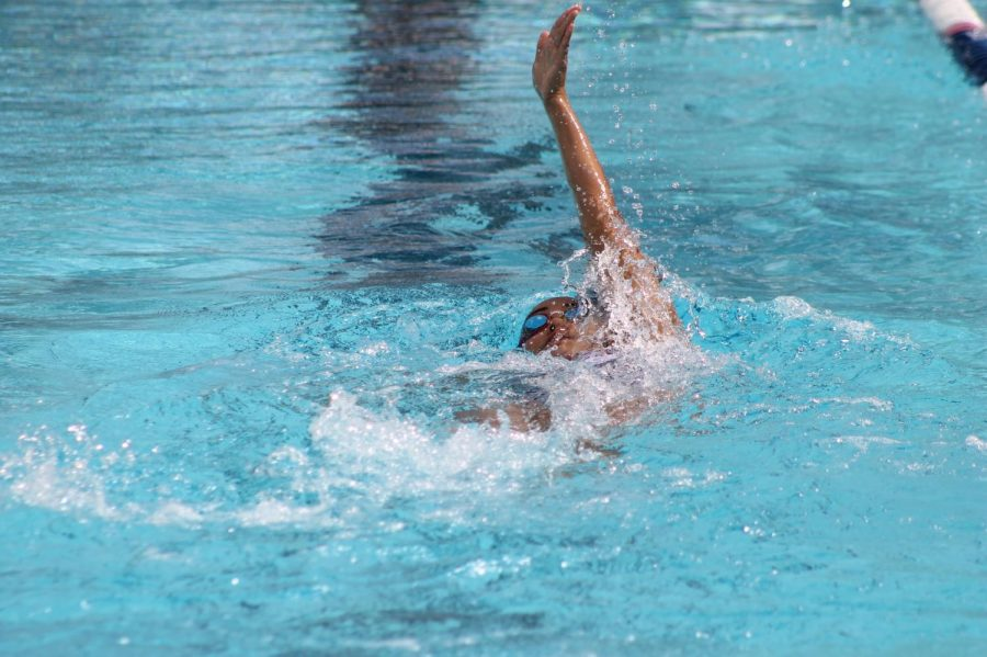 Marisela Olivas freshman swam in the Women 200 yard backstroke. Cerritos College swim team for home met on Feb 28, 2020 Photo credit: Derrick Coleman