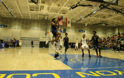 Freshman guard Joshua Belvin lay up the ball. Against Santiago Canyon during the Southern California Regional playoffs March 7, 2020. Photo credit: Derrick Coleman