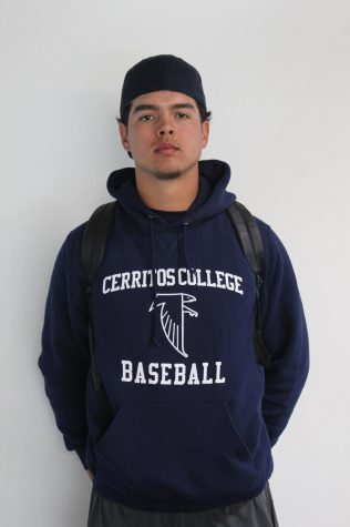 Portrait photo of Richard Castro player number 17 of the Cerritos College baseball team. Photo credit: Oscar Torres