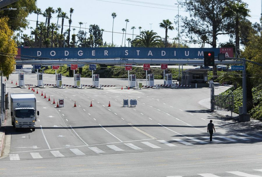 An entrance to Dodger Stadium in Los Angeles is closed on what would have been opening day if not for the coronavirus outbreak, on March 26, 2020. (Mel Melcon/Los Angeles Times/TNS)