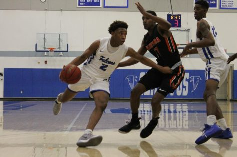 Joshua Belvin drives the ball to the basket in the game. Falcons play Ventura College Feb 28, 2020 Photo credit: Derrick Coleman