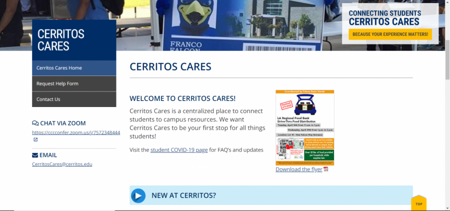 The+Cerritos+Cares+webpage+has+many+resources+students+might+want+during+this+crisis.+The+site+is+open+to+current+and+prospective+students+who+might+need+a+helping+hand.