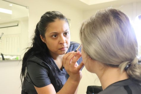 Stephanie Mora, a cosmetology student at Cerritos, practicing hands-on before Cerritos College closed due to COVID-19, March 13.