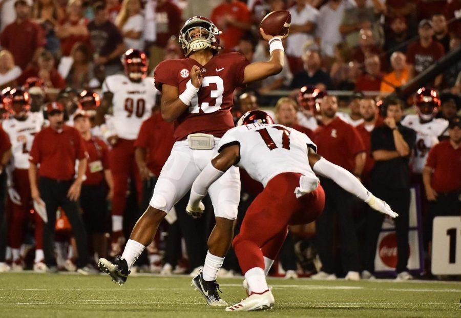 Alabama Crimson Tide quarterback Tua Tagovailoa threw a touchdown pass to wide receiver Jerry Jeudy on this play. [JASEN VINLOVE/USA Today]