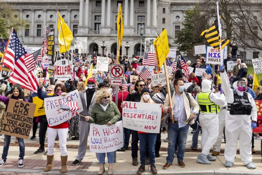 Protesters gather to protest Pennsylvania's social distancing protocols. Protests like this have popped up across the country.