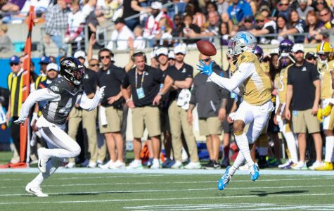 Detriot Lions wide reciever Kenny Golladay makes a catch past Baltimore Ravens safety Marlon Humphrey during the first quarter of the NFL Pro Bowl at Camping World Stadium on Sunday, Jan. 26, 2020. (Jason Beede/Orlando Sentinel/TNS)