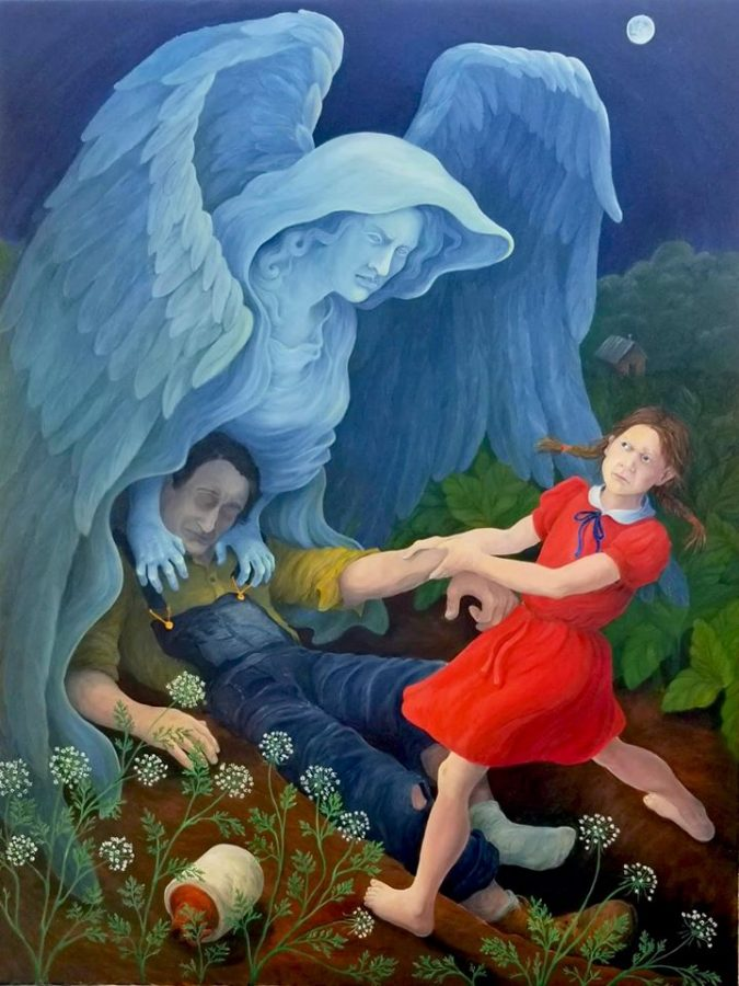 Fighting Daddys Demons is an oil painting by Phyllis Chumley Martinez. Her work will be on view on Friday, May 22, in the online catalog on Blurb.