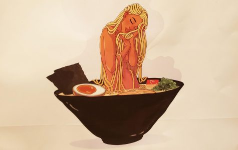 A women whose hair is made out thin noodles seems to be loving herself in a broth of delicious ramen.