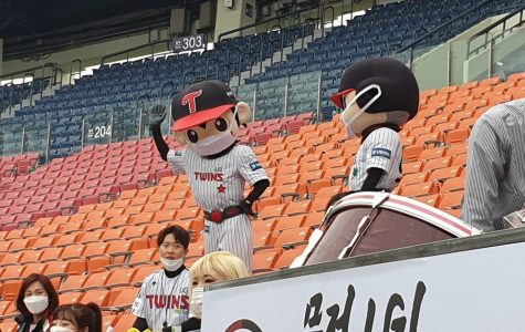 Even the LG Twins mascots wore masks during the team's Korean Baseball Organization season opener against the Doosan Bears in Seoul, South Korea, on May 5, 2020.