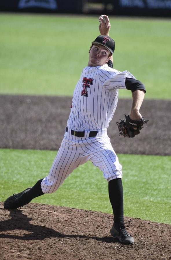 Texas Tech's Hunter Dobbins (42) pitches in a nonconference game March 14, 2010 against Stetson at Dan Law Field at Rip Griffin Park. Dobbins is set to compete in the Collegiate Summer Baseball Invitational slated for June 4-6 in his hometown of Bryan, Texas.