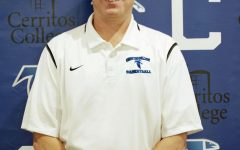Coach Russell May leads the Cerritos College men's basketball team during his 11th year as head coach. He has led his team to four straight 20-win seasons. Courtesy of Cerritos College Sports Information Office