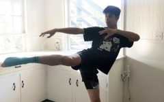 Samuel Macias, dance major, has been dancing from home due to COVID-19. He finds a space at his home to take his zoom dance classes. Photo credit: Courtesy of Samuel Macias