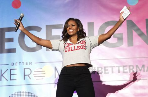 Former first lady Michelle Obama addresses the crowd at Pauley Pavilion on the UCLA campus on Wednesday, May 1, 2019, as they celebrate College Signing Day with 10,000 high school seniors and transfer students who have committed to pursuing a higher education. (Al Seib/Los Angeles Times/TNS)