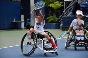 The wheelchair tennis team celebrates during the Angel City Games. This year's games will be held virtually for all competitors starting in June, 2020. Photo credit: Courtesy of Angel City Sports Founder