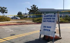 Cerritos College makes the decision to continue with online learning going into the Fall semester. This sign is placed outside of the Liberal Arts building on April 28, 2020. Photo credit: Kianna Znika