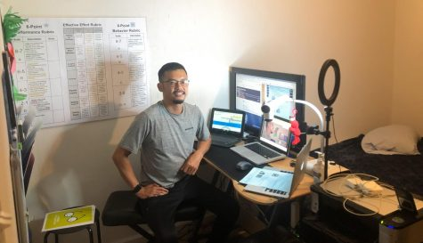 Sixth grade teacher Andrew Vo in his home set up for remote teaching. Vo is a teacher at Aloha Elementary in Lakewood.