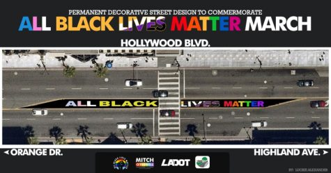 "The ""All Black Lives Matter Mural"" will be permanent on Hollywood Blvd, between Orange Dr. and Highland Ave. The mural will be completed by August 29. Photo credit: Los Angeles Bureau of Street Services"
