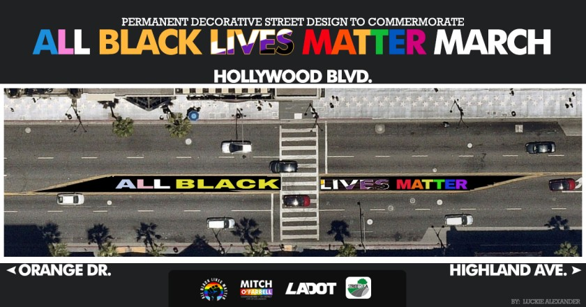 The+All+Black+Lives+Matter+Mural+will+be+permanent+on+Hollywood+Blvd%2C+between+Orange+Dr.+and+Highland+Ave.+The+mural+will+be+completed+by+August+29.+Photo+credit%3A+Los+Angeles+Bureau+of+Street+Services