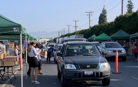 Drivers wait in line as volunteers fill their cars with food. For the safety of everyone drivers are not allowed to exit their vehicles. Photo credit: Eileen Osuna
