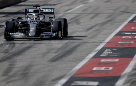 Mercedes driver Lewis Hamilton of Britain enters pit lane during Formula One's U.S. Grand Prix auto race at the Circuit of the Americas during last year's race in Austin. This year's race has been canceled. Photo credit: NICK WAGNER/AMERICAN-STATESMAN