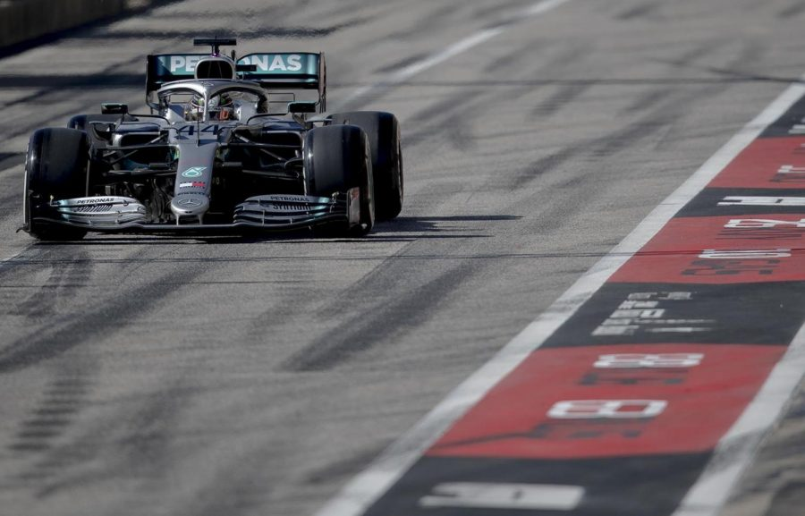 Mercedes driver Lewis Hamilton of Britain enters pit lane during Formula Ones U.S. Grand Prix auto race at the Circuit of the Americas during last years race in Austin. This years race has been canceled. Photo credit: NICK WAGNER/AMERICAN-STATESMAN