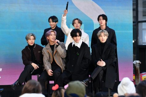 "(L-R) Jimin, Jungkook, RM, J-Hope, V, Jin, and SUGA of the K-pop boy band BTS visit the ""Today"" Show at Rockefeller Plaza on February 21, 2020 in New York City. Photo credit: Dia Dipasupil/Getty Images"