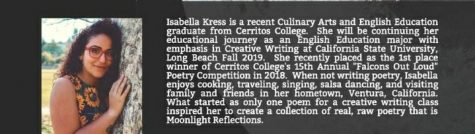 Isabella Kress released two books on poetry which are currently available on Amazon. Ms. Kress is a Cerritos college alumni who was a well known-student in the Culinary Arts department.