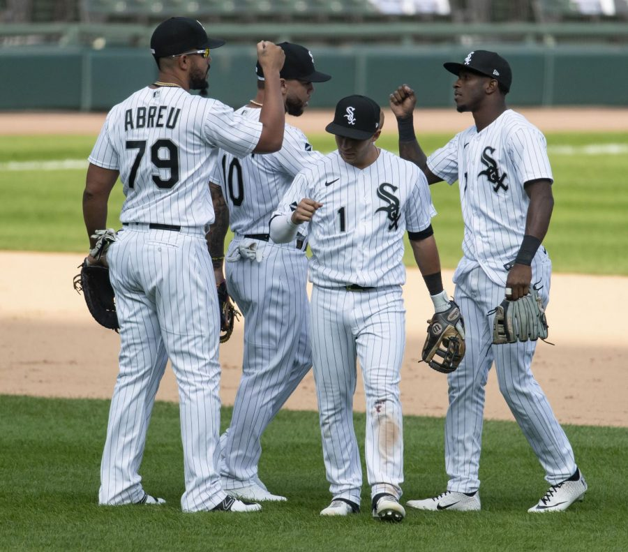 Jose Abreu, Yoan Moncada, Nick Madrigal and Tim Anderson celebrate their win Thursday, September 17, 2020 at Guaranteed Rate Field in Chicago. The White Sox defeated the Minnesota Twins, 4-3. Photo credit: Brian Cassella/Chicago Tribune/TNS