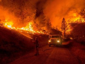 A lone firefighter battles a raging inferno. As of Sept. 11, over 3000 homes have been lost, with billions in damages.