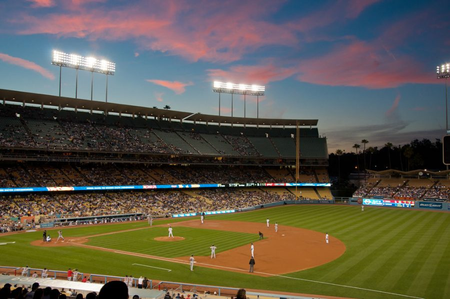View from first base side of Dodger Stadium during a night game. Photo credit: LifeSupercharger/Creative Commons