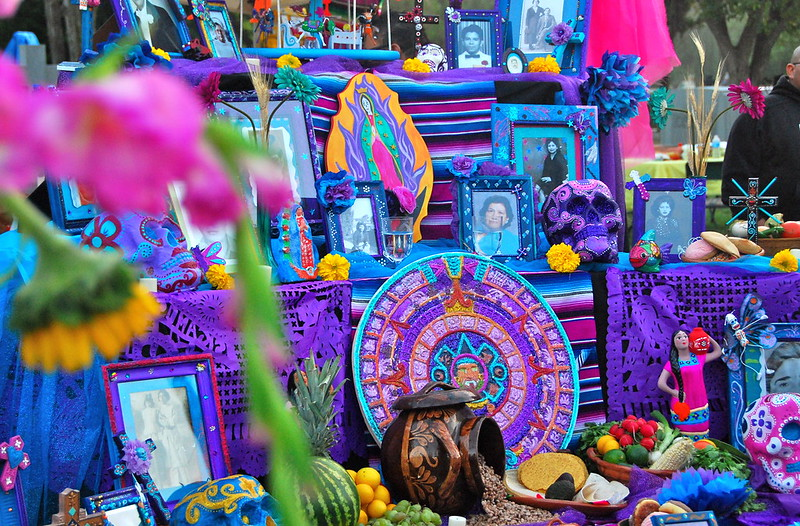 Ofrendas are altars created to welcome the spirits of the deceased. An ofrenda at Hollywood Forever Cemetery on October 23, 2011. Photo credit: Malingering on Flicker.com