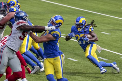 Los Angeles Rams running back Darrell Henderson (27) on a first half run against the New York Giants on Sunday, October 4, 2020 at SoFi Stadium in Inglewood, California.