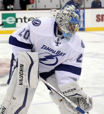 Former Goaltender Evgeni Nabokov takes to the ice. Photo credit: Wikimedia Commons