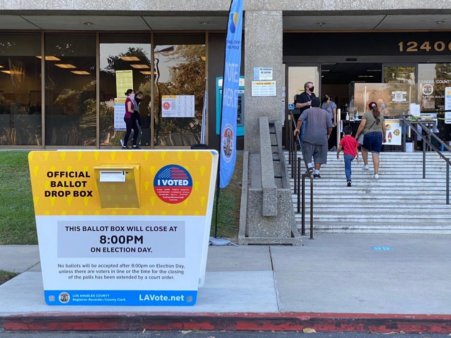 Voters visit the Los Angeles County Recorders Office to vote early for the November 3, 2020 general election. Oct. 15, 2020.