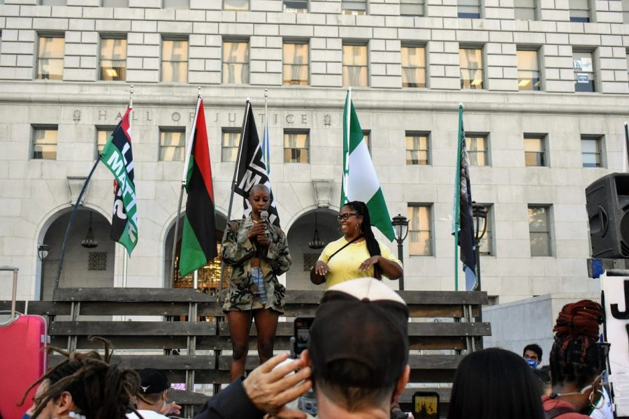 Organizers of BLM honor victims of police violence. They spoke at the LA Hall of Justice as LA County Attorney General Jackie Lacey is projected to loose reelection on Nov. 4, 2020.