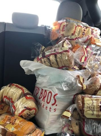 Food that is donated for local food pantries. Persons in need are able to get breads and other types of food through the work of Food Finders. Oct. 10, 2020.