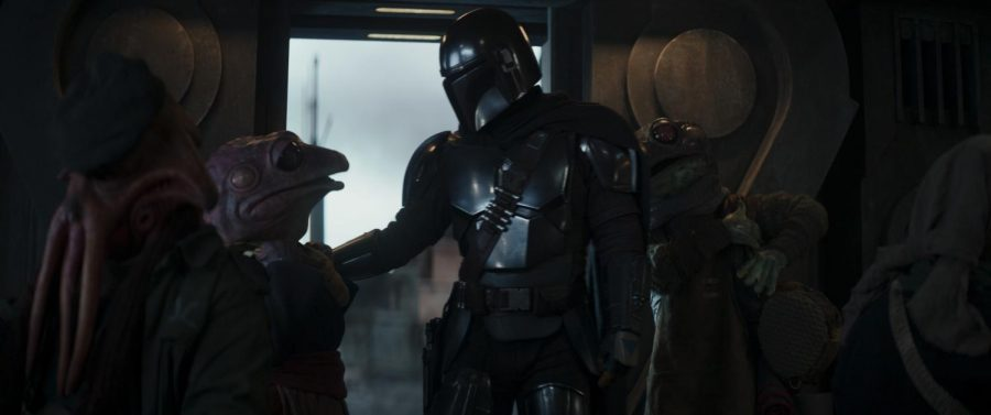 (Center,1-r): Frog Lady and the Mandalorian (Pedro Pascal) in Lucasfilm's THE MANDALORIAN, season 2, exclusively on Disney+. © 2020 Lucasfilm Ltd. & ™. All Rights Reserved. Photo credit: Walt Disney Company & Lucasfilm Ltd.