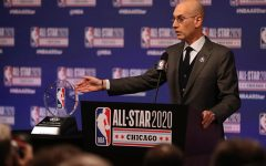 NBA Commissioner Adam Silver talks during events at NBA All-Star weekend on February 15, 2020, at the United Center in Chicago.