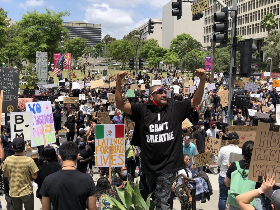 Protesters chant at a Black Lives Matter protest in front of Los Angeles City Hall on June 10, 2020. It was one of hundreds of protests organized by civil rights group Black Lives Matter Los Angeles.