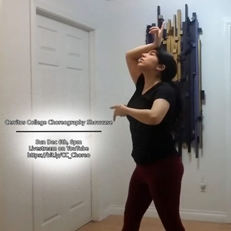 Choreographer performing a dance for the Cerritos College Choreography Showcase on Sunday, Dec.6 at 6pm. The Dance department has been functioning from online at home due to COVID Photo credit: Rebekah Hathaway