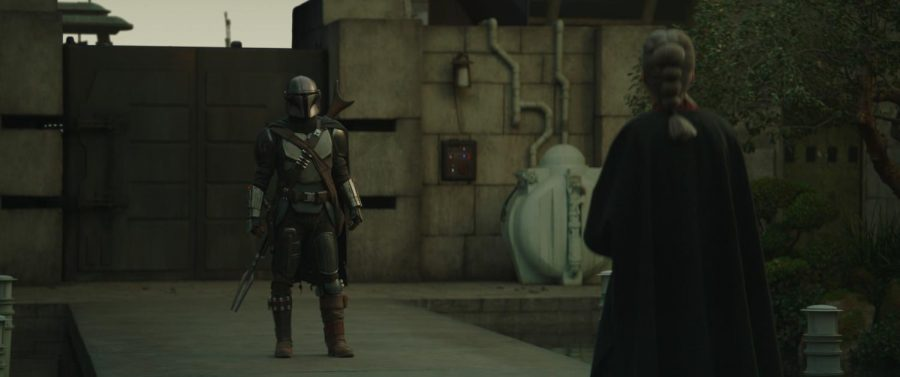 The Mandalorian (Pedro Pascal) and The Magistrate (Diana Lee Inosanto) in Lucasfilm's THE MANDALORIAN, season 2, exclusively on Disney+. © 2020 Lucasfilm Ltd. & ™. All Rights Reserved. Photo credit: Walt Disney Company & Lucasfilm Ltd. Photo credit: Walt Disney Company & Lucasfilm Ltd. Photo credit: Walt Disney Company & Lucasfilm Ltd.