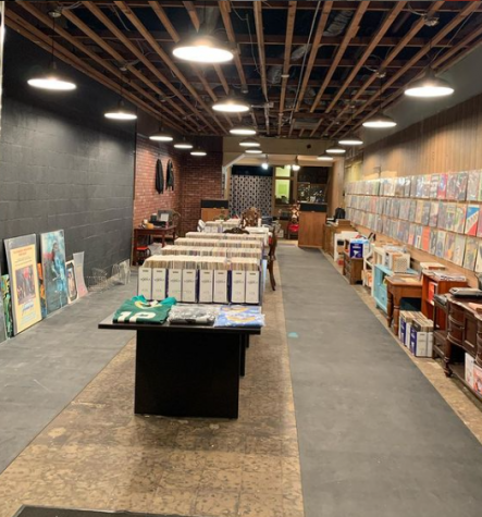 A look at the record shop from the entrance. Plenty of records are available for customers to look through.