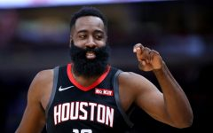 The Houston Rockets' James Harden has a laugh during a game against the Chicago Bulls at the United Center in Chicago on Nov. 9, 2019.