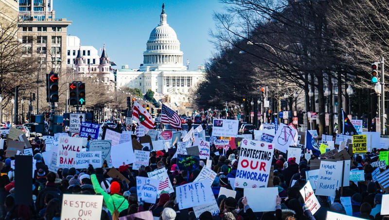 Trump supporters head toward the capitol on Jan.6, after President Trump instigated the riot. Several congresspeople have now called for his removal.