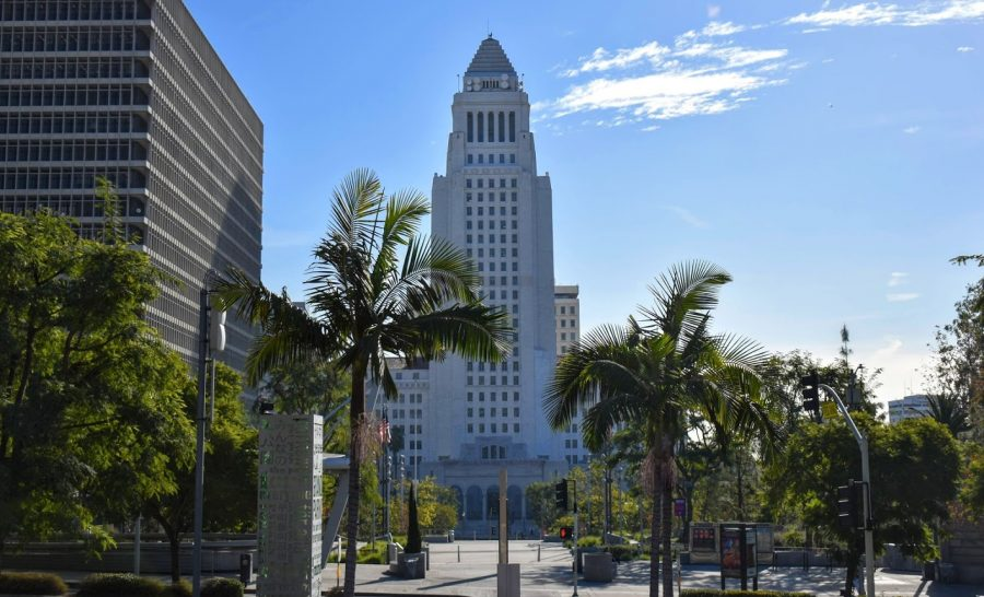 While the U.S. capital was under siege on Jan. 6, LA city hall was the site of a large pro-Trump protest. Maskless Trump supporters touted conspiracy theories that the election was rigged.