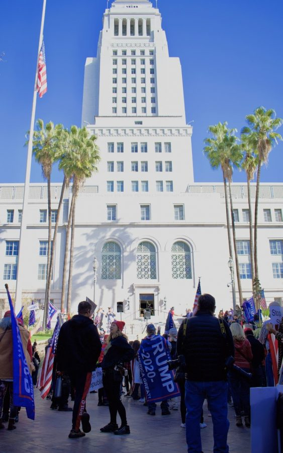 """Stop the Steal"" rally begins outside Los Angeles city hall on Jan. 6. Maskless Trump supporters gathered to protest an election they believed to be rigged, without any definitive evidence to support their claims."